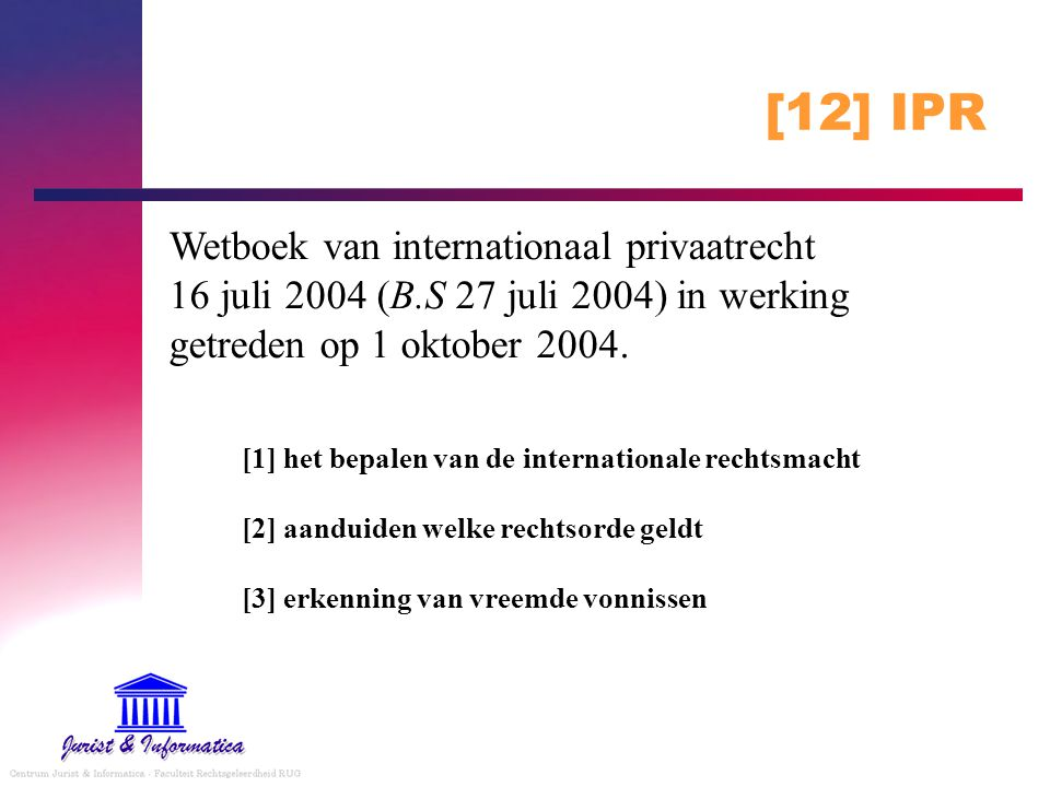 [12] IPR Wetboek van internationaal privaatrecht 16 juli 2004 (B.S 27 juli 2004) in werking getreden op 1 oktober 2004.